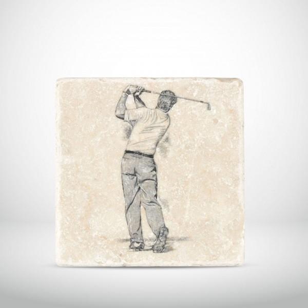 Marmorkachel Golfer mit Eisen 1