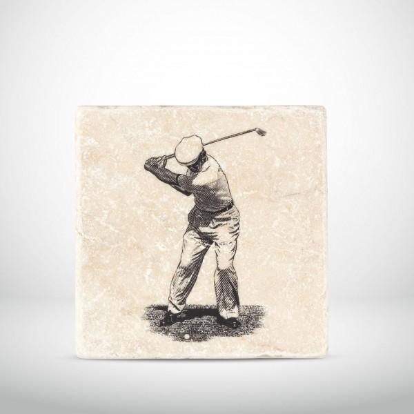 Marmorkachel Golfer mit Eisen 2