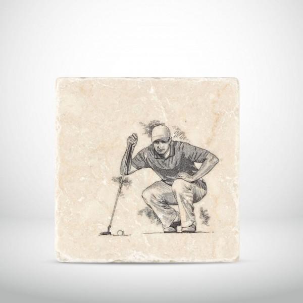 Marmorkachel Golfer mit Putter